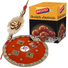 Marvelous Selection of 1 Special Rakhi N Decorative Thali with 1 Kg. Bikano Gulab Jamun