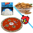 Popular Combination of 1Kg. Bikano Rasgulla N Almond with Puja Thali N 1 Rakhi