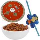 Classic Gift of Designer Thali with  Single Rakhi and Healthy Almonds