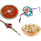 Remarkable Collection of 1 Doreman Kid Rakhi N 1 Bhaiya Rakhi with Rakhi Thali n Cashew
