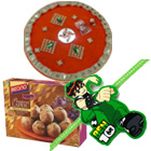 Delicious Panjeeri Ladoo from Bikano N One Ben 10 Kid Rakhi with Puja Thali