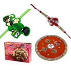 Wholesome Gift Pack of Rakhi Thali N kaju Rolls with 1 Ben 10 Kid Rakhi N 1 Bhaiya Rakhi