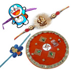 Combo of Traditional Rakhi Thali with Two Bhaiya Rakhi N 1 Special Rakhi