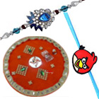 Eye-Catching Hamper of One Rakhi for Kid N One Rakhi for Bhai with Puja Thali