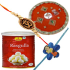Delctable 1 Kg. Haldiram Rasgulla Tin N Pooja Thali with 1 Bhaiya Rakhi N 1 Kid Rakhi Gift Set