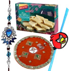 Extravagant Gift of Rakhi Thali N Bikano Kaju Katli with a Set of 1 Kid N 1 Bhaiya Rakhi