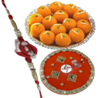 Impressionable Selection of 1 Designer Rakhi with Decorative Thali N Ladoo from Haldiram