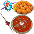 Splendid Beautiful Set of 1 Bhaiya Rakhi N 1 Kid Rakhi with Haldirams Ladoo N Pooja Thali