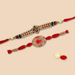 Remarkable Arrangement of Two Pieces Rakhi Set with Free Roli Tilak and Chawal for Rakhi Celebration