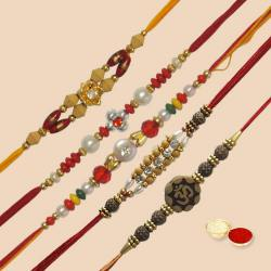 Attractive Arrangement of 5 Pc. Rakhi Set with free Roli Tilak and Chawal for Rakhi Celebration