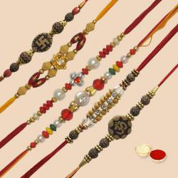 Impressionable Collection of 6 Piece Rakhi Set with free Roli Tilak and Chawal on Raksha Bandhan