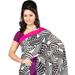 Charismatic Dani Georgette Saree in Black and White Colour Touch