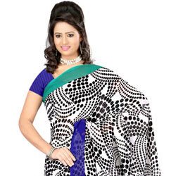 Appealing Dani Georgette Saree with Simple Sophistication