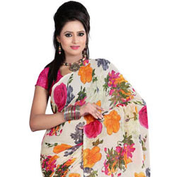Classic Floral Printed Georgette Saree with Stunning Design