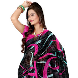 Admirable Georgette Printed Saree in Black