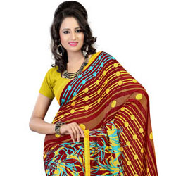 Attractive Brown and Mustard Colour Combined Faux Georgette Saree