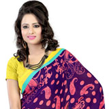 Arresting Faux Georgette Printed Saree in Purple