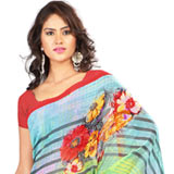 Hypnotic Yellow and Sky Blue Georgette Printed Saree