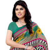 Fascinating Renial Georgette Printed Saree in Multi-Coloured