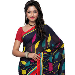 Enticing Black and Grey Coloured Georgette Saree