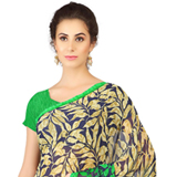 Charismatic Weightless Georgette Printed Saree in Black and Green Colour