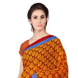 Breathtaking Orange Weightless Georgette Floral Printed Saree