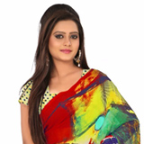 Exquisite Multi Coloured Digital Printed Georgette Saree