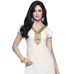 Classy White Coloured Pure Cotton Printed Patiala Suit