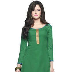 Dazzling Deep Green Pure Cotton Patiala Suit