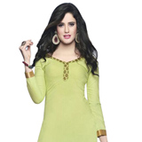 Fascinating Cotton Printed Patiala Suit in Light Green