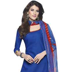 Classy Blue and Red Shaded Cotton Printed Patiala Suit