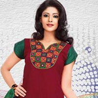 Magnificent Red and Maroon Shaded Cotton Printed Patiala Suit