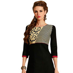 Charismatic Women's Black Cotton Printed Suit