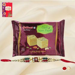 Soan Papdi from Haldiram with 1 Free Rakhi, Roli Tilak and Chawal