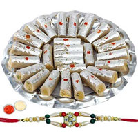 Tasty Treat of <font color=#FF0000>Haldiram</font> Special Kaju Pista Roll with 1 Free Rakhi, Roli Tilak and Chawal for Rakhi Celebration