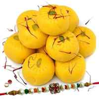 Fantastic Haldiram Kesaria Pedas with 1 Free Rakhi, Roli Tilak and Chawal on Raksha Bandhan for your Dear Brother