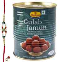 Popular Gift of <font color=#FF0000>Haldiram</font> Gulab Jamun with Free Rakhi, Roli Tilak and Chawal on Raksha Bandhan