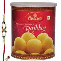 Scrumptious Rakhi Special Raj Bhog from Haldiram with Free Rakhi, Roli Tilak and Chawal for Raksha Bandhan Celebration