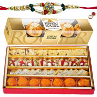 Stunning Arrangement of Assorted Sweets from Haldiram N Ferrero Rocher Chocolates with a Free Rakhi, Roli Tilak and Chawal for Rakhi Celebration