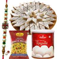 Breathtaking Collection of Kaju Katli, Chanachur N Rasgulla from Haldiram with free Rakhi, Roli Tilak and Chawal on Raksha Bandhan