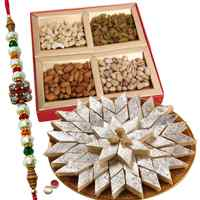 Stylish Raksha Bandhan Special Gift of Kaju Katli from Haldiram and Mixed Dry Fruits with free Rakhi, Roli Tilak and Chawal