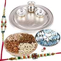 Trendy Collection of Silver Plated Thali, Haldiram Kaju Katli N Dry Fruits with 2 Free Rakhi, Roli Tilak and Chawal on Raksha Bandhan