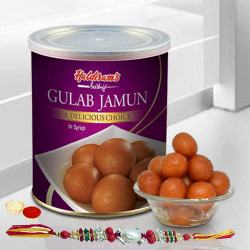 Lip-smacking Fresh Haldiram Gulab Jamuns with 2 Rakhis and Roli Tilak Chawal