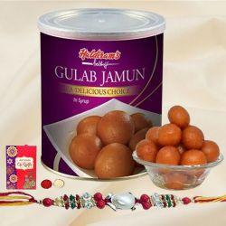Lip-smacking Fresh Haldiram Gulab Jamuns with 2 Rakhis and Roli Tilak Chawal