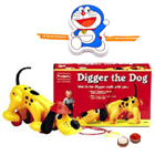 Amazing Toy Set-Diggler The Dog from Funskool with free Rakhi, Roli Tilak and Chawal for your Younger Brother