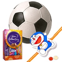 Classic Rakshan Bandhan Gift of Cosco Football with Rakhi Roli Tilak N Chawal