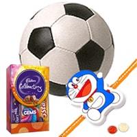 Classic Rakshan Bandhan Gift of Cosco Football with Rakhi Roli Tilak N Chawal