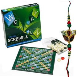 Admirable Gift set of Scrabble Word Game for All with Free Rakhi Roli Tilak and Chawal for this Raksha Bandhan