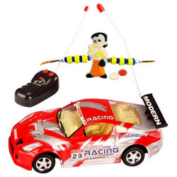 Enthralling Gift of Red Color Remote Control Toy Car with Rakhi Roli Tilak Chawal for your Younger Brother