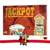 Jackpot Board Game with Motu Patlu Rakhi and Roli, Tilak and Chawal.